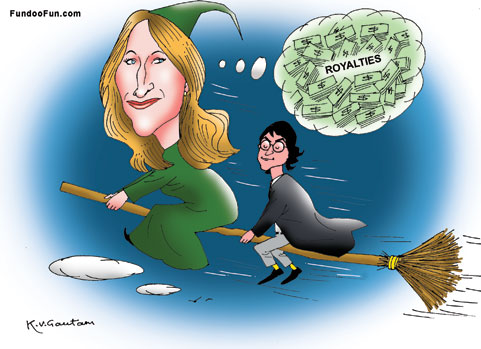 J K Rowling caricature cartoon