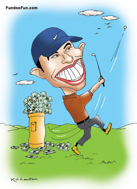 Tiger Woods caricature cartoon
