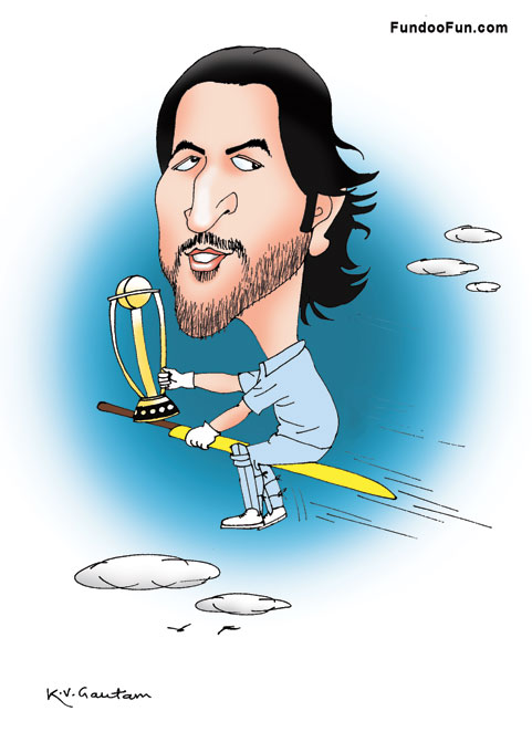 Mahendra Singh Dhoni caricature cartoon