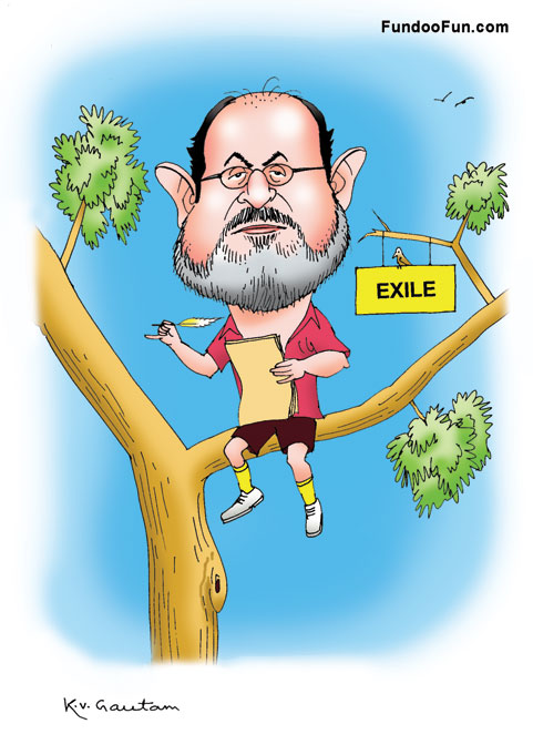 Salman Rushdie caricature cartoon