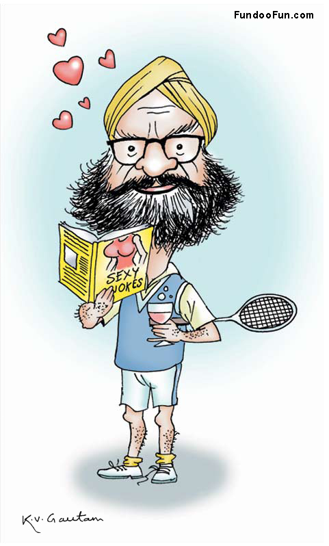 Khushwant Singh caricature cartoon