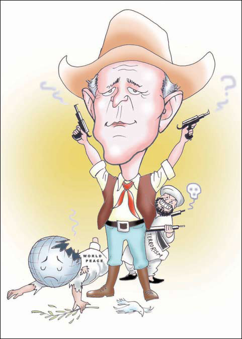 George Bush caricature cartoon