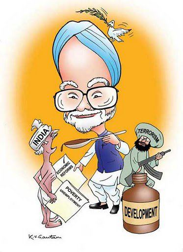 Manmohan Singh caricature cartoon